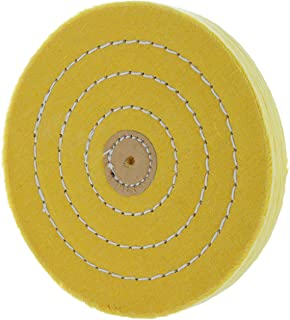 Drixet 6 Inch Treated Spiral Sewn Yellow Cotton Buffing Wheel, With A Shellac Leather Center Hole Reinforcement (50 Ply).