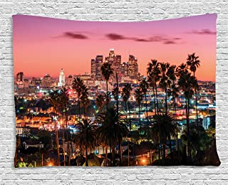 Ambesonne United States Tapestry, Vibrant Sunset Twilight Scenery Los Angeles Famous Downtown with Palm Trees, Wide Wall Hanging for Bedroom Living Room Dorm, 60