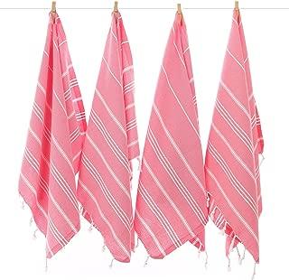 Cacala Pure Series - Set of 4 Turkish Peskir Hand & Face Towels Pink
