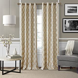 Elrene Home Fashions Modern Metal Print Linen Single Panel Window Curtain Drape, 50
