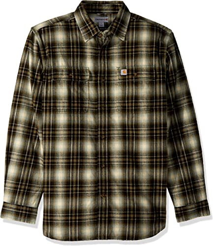voiturehartt Hommes's Hubbard Plaid Flannel Shirt, Burnt Olive, petit