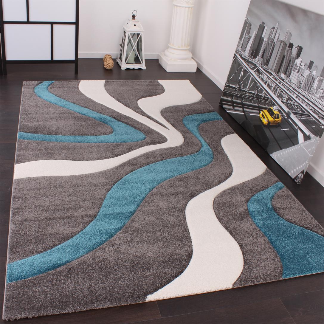 Paco Home Designer Teppich Modern Konturenschnitt Pastellfarben Karo Muster Beige T/ürkis Gr/össe:60x110 cm