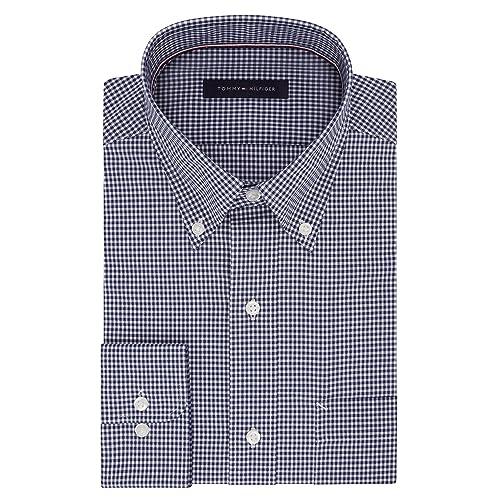 145b4cbc33d Tommy Hilfiger Men s Non Iron Regular Fit Gingham Buttondown Collar Dress  Shirt