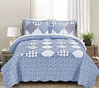 Blissful Living Luxury Ruffle Quilt Set Including Shams - Lightweight and Soft for All Seasons, Available in Twin, Full/Queen and King Size (Twin, Isidora Blue)
