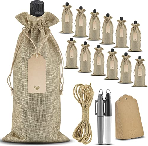 discount Connect Things Wine Gift Bags - 12 Pack Burlap Bags with 2 Markers, Tags and Rope   online Wine Bags for Wine Bottles Gifts   Wine Bag Canvas Bags Bulk   new arrival Travel Wine Accessories outlet sale