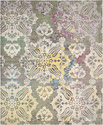 Safavieh Valencia Collection VAL215K Multicolored and Yellow Distressed Floral Silky Polyester Area Rug (8' x 10')