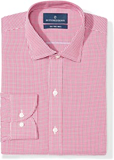 Amazon Brand - BUTTONED DOWN Men's Slim Fit Gingham Dress Shirt, Supima Cotton Non-Iron