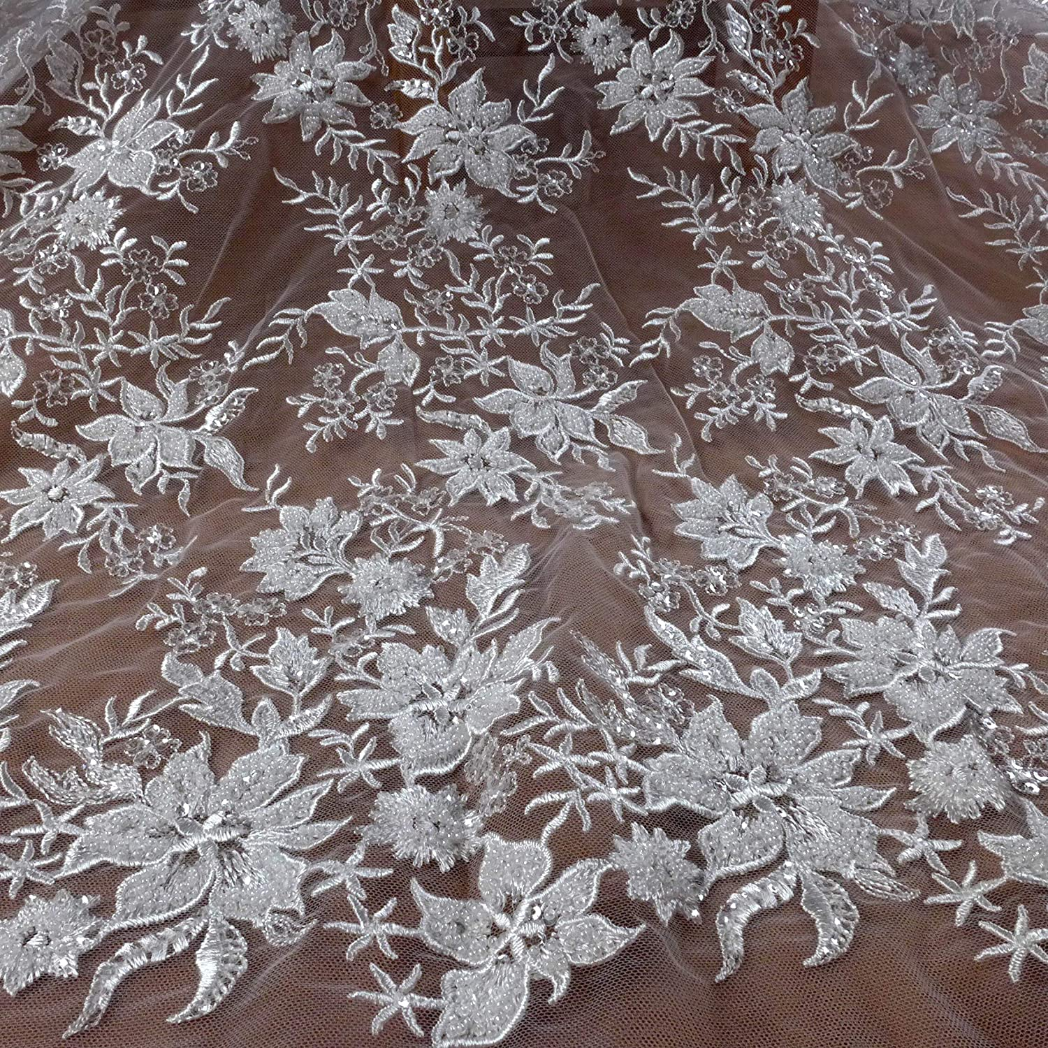 Fresno Mall Heavy Beaded Wedding Dress Cheap super special price lace Fabric Beads White Off Sequins l