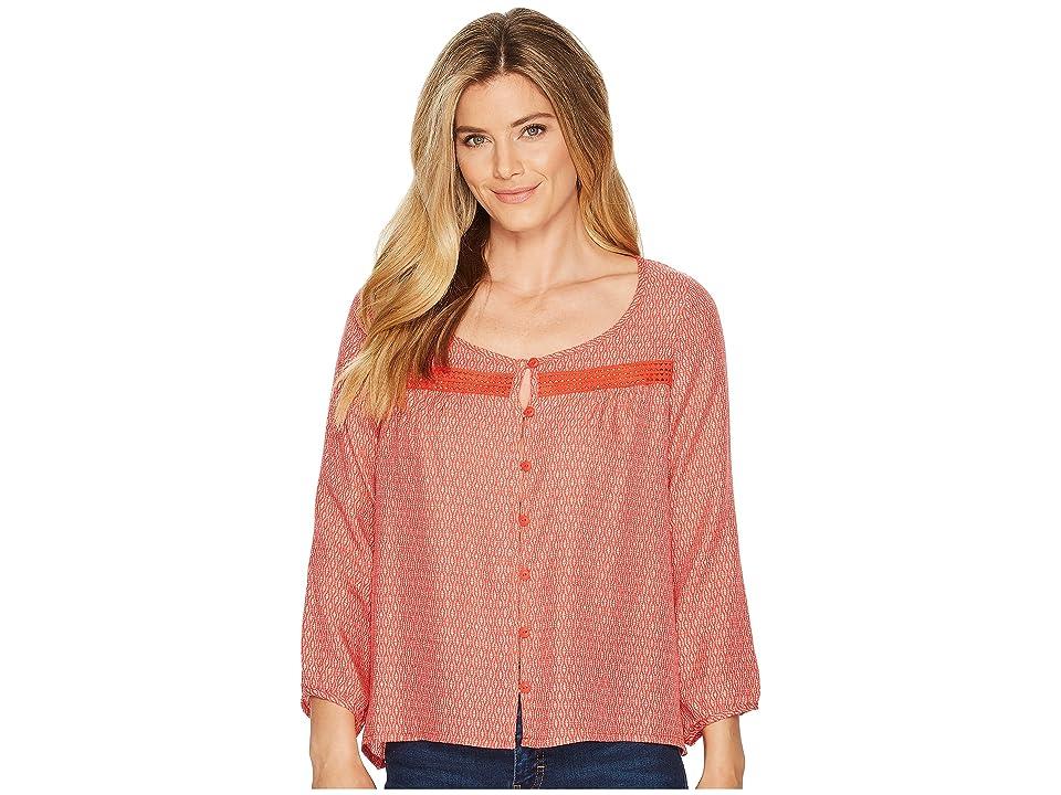 Toad&Co Windsong Long Sleeve Shirt (Guava Diamond Print) Women