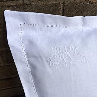 White 100% Linen Pillowcase, Oxford, Housewife, Hemstitch, Sham, Personalised Embroidered Heirloom Custom Monogram