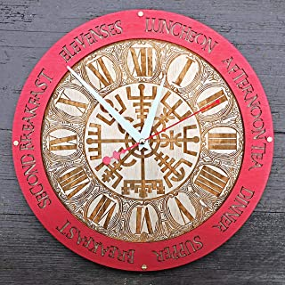 Meal Times Vegvisir viking compass red ring Wooden Wall Clock Norse Mythology Handcrafted home decor, personalized custom gift, kitchen vintage style, meal planning, living room decorative art