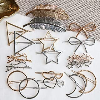 Cholet Minimalist Hair Clips, Fashion Hair Accessories for Women, Girls - 18pcs - Big Hollow Geometric Alloy Hairpin Clamps Clips - For Styling, Party, Birthday, Bridal Snap Clips – Multiple Style