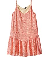 IKKS - Reversible Dress with Braided Straps & Drop Waist All Over Print Reverses to Yellow Swiss Dot (Little Kids/Big Kids)