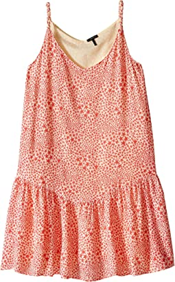 Reversible Dress with Braided Straps & Drop Waist All Over Print Reverses to Yellow Swiss Dot (Little Kids/Big Kids)