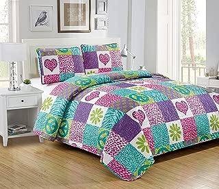 Mk Collection 3pc Full Size Bedspread Set Pink Purple Teal Zebra Leopard Heart Peace Sign Teens/Girls Zebra Flower New # Zebra Flower