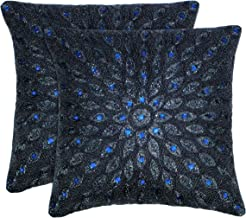 Cotton Craft - 2 Pack - Peacock Hand Beaded Decorative Pillow Cover - 16x16 -Navy - Meticulously & lovingly Handmade by Sk...