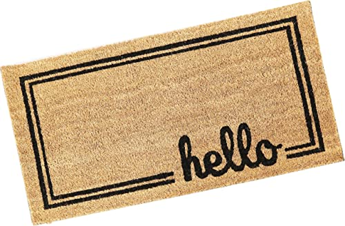 """2021 Sunnydaze 17"""" x 30"""" Indoor/Outdoor Hello Entrance Mat online with Border - Heavy Duty 53-Percent Coir and 47-Percent PVC Construction - Perfect for The Entryway, online sale Mudroom or Front Porch outlet sale"""