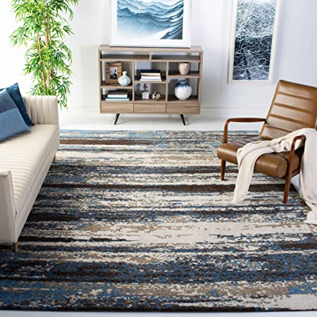 Safavieh Retro Collection Ret2138 Modern Abstract Non Shedding Stain Resistant Living Room Bedroom Area Rug 8 X 10 Cream Blue Furniture Decor