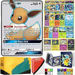 Totem World Eeveelution Pokemon Card Ultra Rare GX Lot with Totem Storage Case, Collectors Binder Album & Deck Box, Includes 1 GX/EX, 3 Eevee Evolutions, 1 Basic Eevee, 10 Rares and 10 Foil Cards
