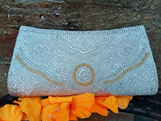 Artcraving white retro classic handmade embroidered clutch purse evening handbag prom party purse with sequins and crystals