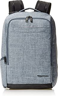 AmazonBasics Slim Carry On Travel Backpack Overnight, Silver