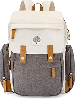 Parker Baby Diaper Backpack - Large Diaper Bag with Insulated Pockets, Stroller Straps and Changing Pad -