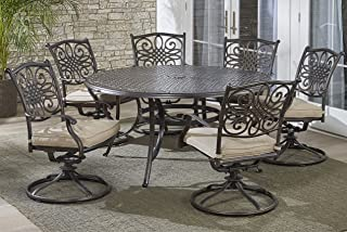 Hanover TRADDN7PCSWRD6 7-Piece Tan Six Swivel Rockers Traditions Dining Set with 60