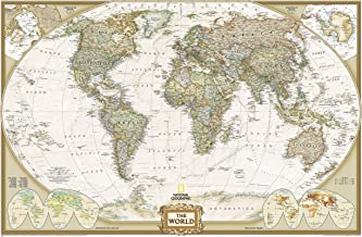 National Geographic: World Executive Wall Map - Laminated (46 x 30.5 inches) (National Geographic Reference Map)