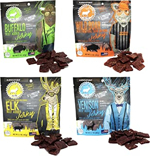 Pearson Ranch Wild Grass Fed Game Variety Pack of 4-2.1oz Bags - Venison, Elk, Buffalo, & Wild Boar - Gluten-Free, MSG-Free, Paleo and Keto Friendly