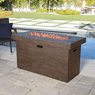 Great Deal Furniture Crawford Outdoor Rectangular Fire Pit, Brown