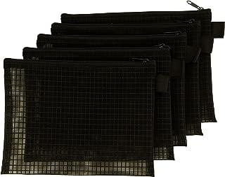 Mesh Bag with Zipper, Set of 5, Organize Supplies, Cosmetics, Travel Accessories (6x8, Black)