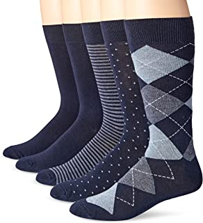 5-Pack Patterned Dress Socks, Azul Marino (Assorted Navy), Shoe Size: 13-14,
