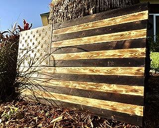 Rustic Burnt American Wood Flag | USA | Wall Art | Handmade | Each Star Carved by Hand | 36