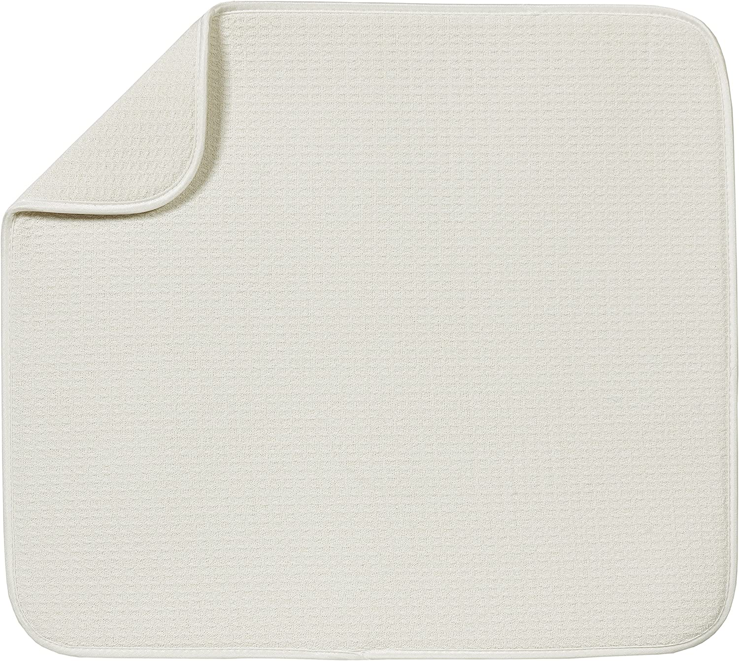 S&T INC. Absorbent, Reversible Microfiber Dish Drying Mat for Kitchen, 16 Inch x 18 Inch, Cream
