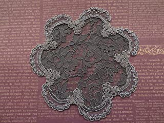 Handmade dark grey lace doily head cover sequins bead accents Hair Covering, Veil, Kippah, Yarmulke (with decorative bobby pin) (Style 803) Elegant Doily Exclusive