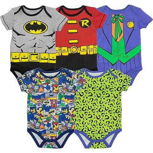 3b6795a83 Baby Boys' 5 Pack Onesies - Batman, Robin, Joker and