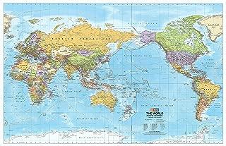 Hema World Political Pacific Centred Wall Map Laminated