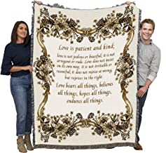 Pure Country Weavers | Love is Patient Love is Kind Wedding Toupe Woven Tapestry Throw Blanket with Fringe Cotton USA 72x54