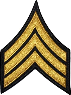 Papapatch Chevrons Sergeant E-5 Stripes US Army Rank Sew on Iron on Arms Shoulder Embroidered Applique Patch - Black and Gold (1 Piece) (IRON-E5-BK-GOLD-02)