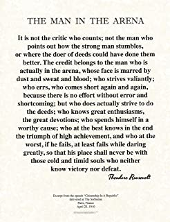 Desiderata Gallery 8.5 x 11 Words of Wisdom by Theodore Roosevelt The Man in The Arena- Archival Parchment Print