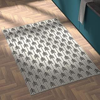 Rivet Arrow Wool Area Rug, 4 x 6 Foot, Black & Ivory
