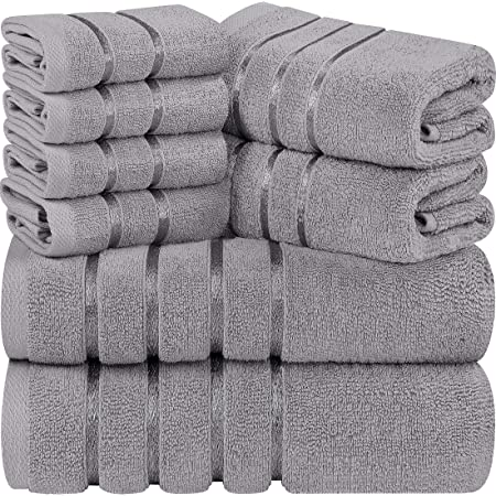 Utopia Towels - Set di Asciugamani Grigi Freddi 8 - Pezzo, Asciugamani a Strisce di Viscosa - 600 gsm Ring Spun Cotton - Asciugamani Altamente assorbenti (Confezione da 8)