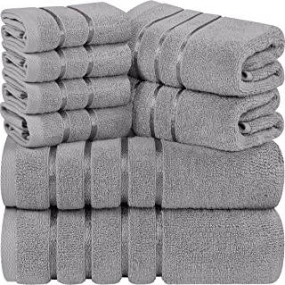 Utopia Towels - Lot de 8 Serviettes de Toilette Gris Froid - Serviettes à Rayures en Viscose - 600 GSM Ring Spun Cotton - ...