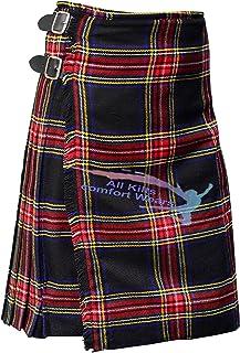 Scottish Men's Traditional Black Stewart 8 Yard & 13Oz Tartan Kilts - Tartan Kilt