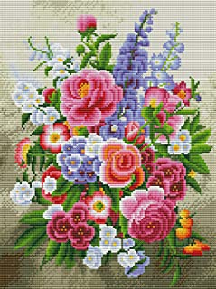 Cross-Stitch Counted Kits Printed Cross Stitch Kits Flowers Needlepoint Kits for Adults Embroidery Kit for Beginners Bloom...