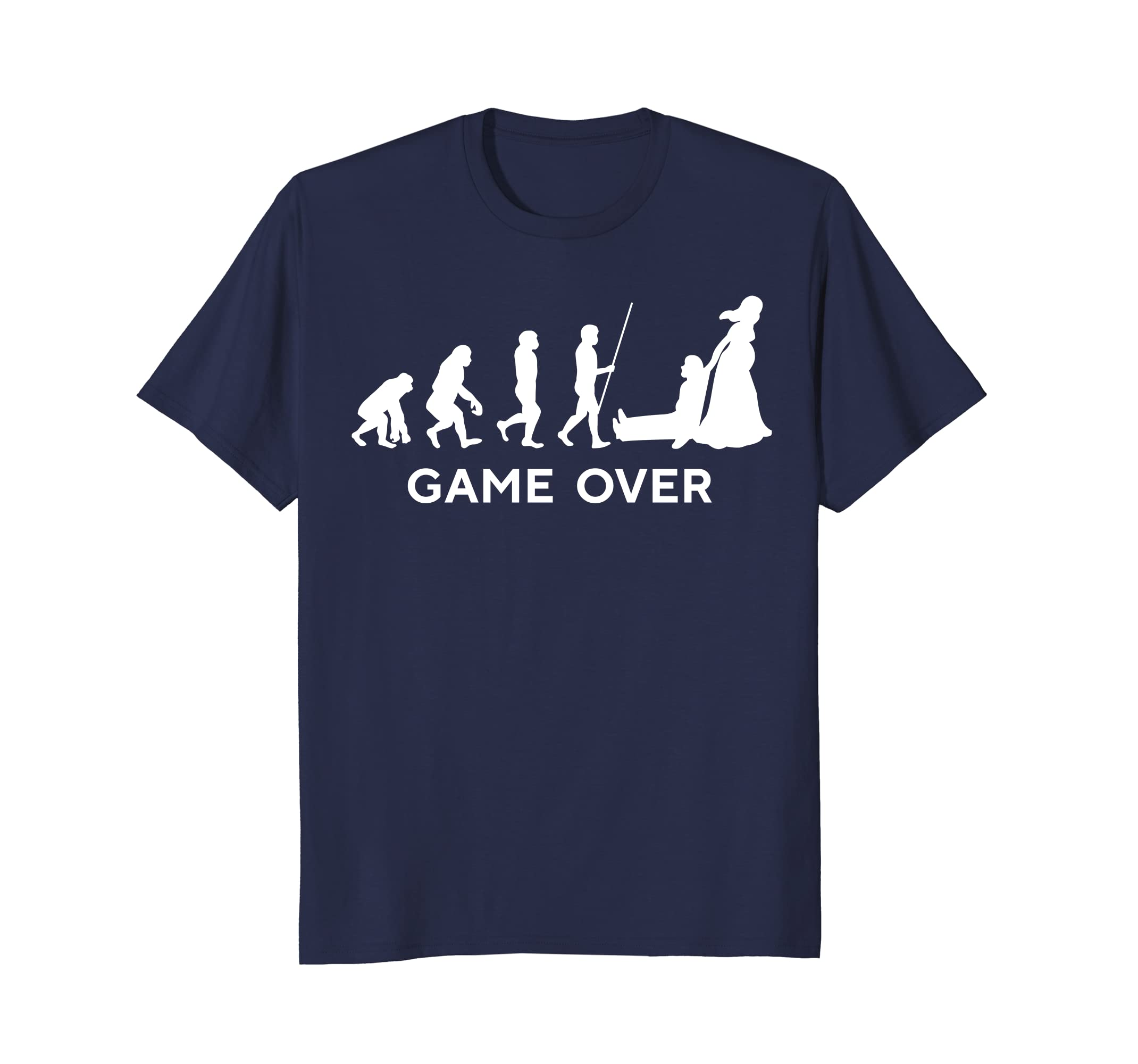 Cool New Dad - Mom Game Over Wedding T-Shirt Funny Evolution- TPT
