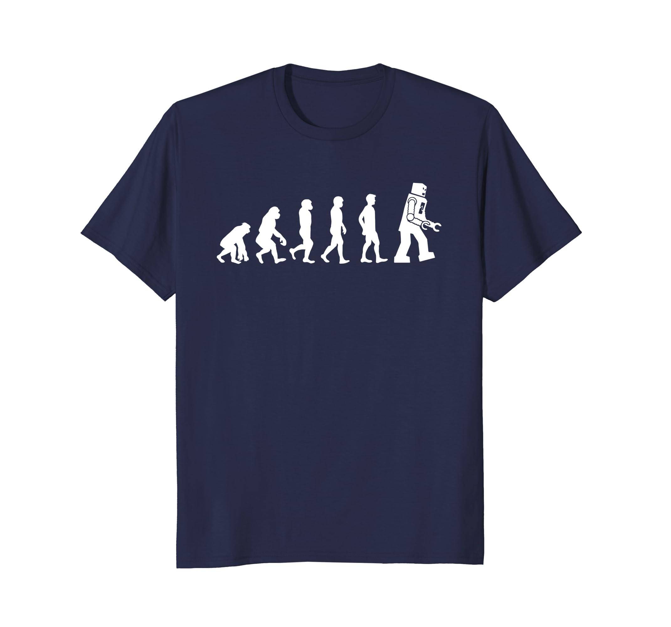 Funny Tees - Ape, Monkey, Man to Robot Evolution T-Shirt-AZP