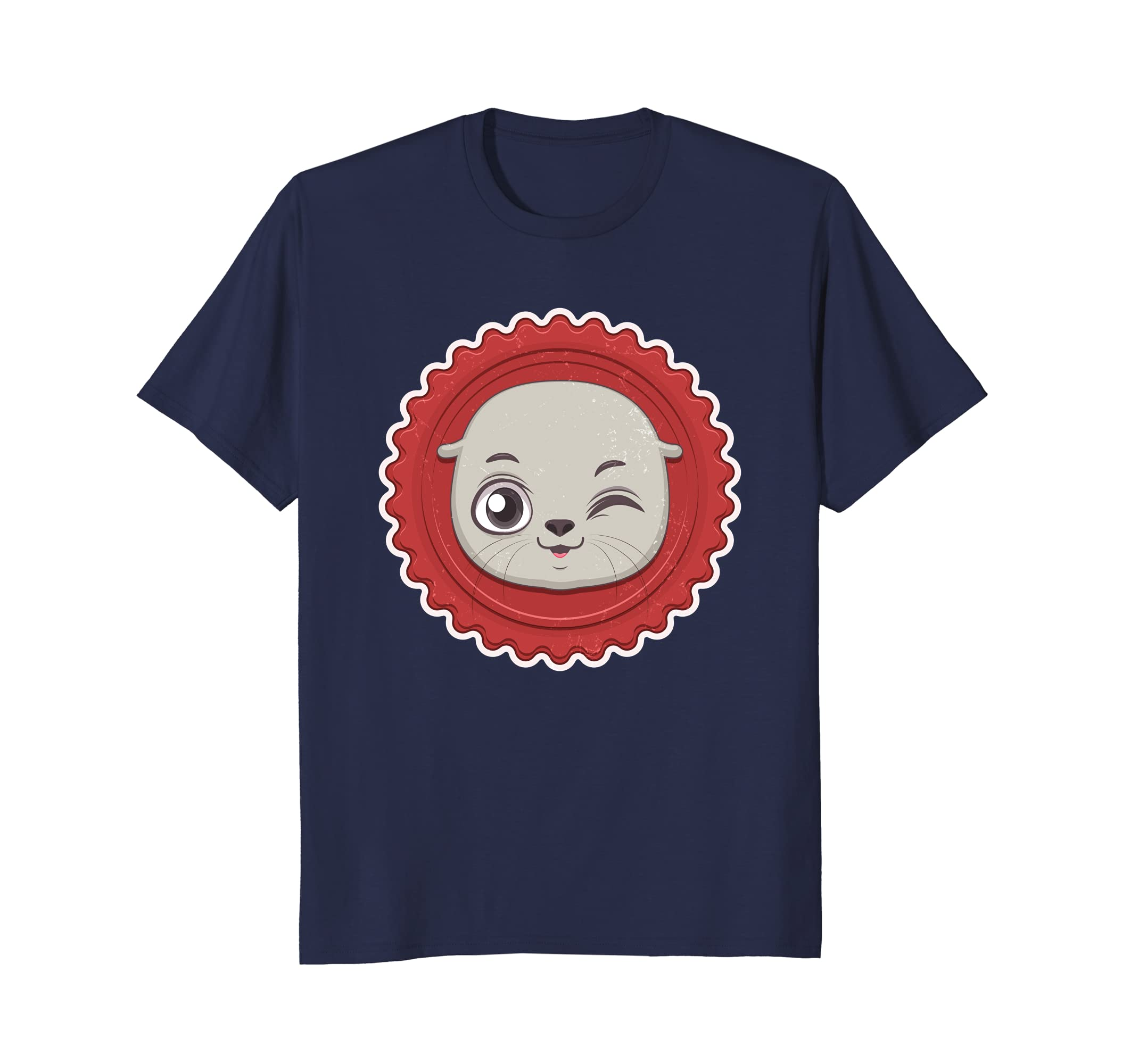 Cute Seal Tees - Swimming Sea Lion Face Wink T-Shirt-AZP