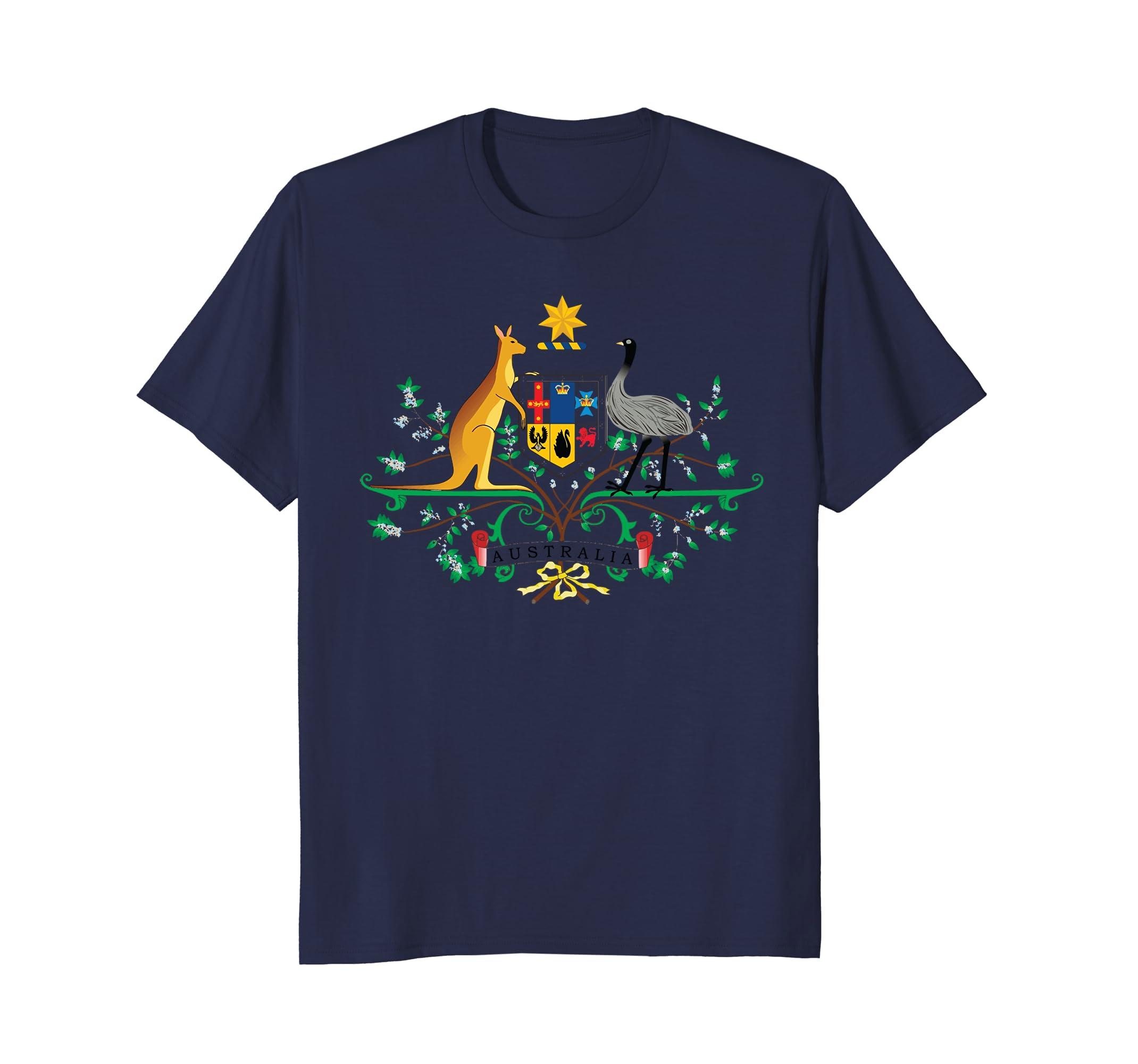 Australia Kangaroo & Ostrich Emblem T-Shirt-AZP