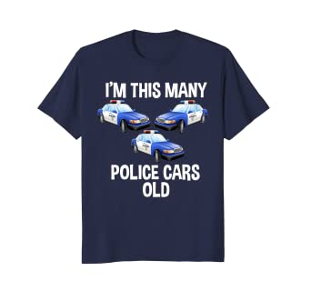 Amazon Birthday Shirt For Boys 3 Im This Many Police Cars Old